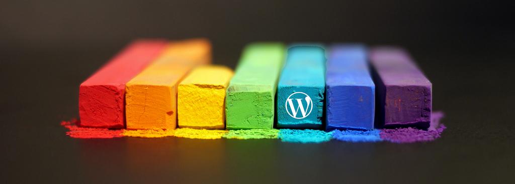 Farvekridt med WordPress-logo på